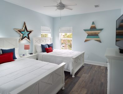Kids and adults will love the Red White & Blue room with two full-size beds.